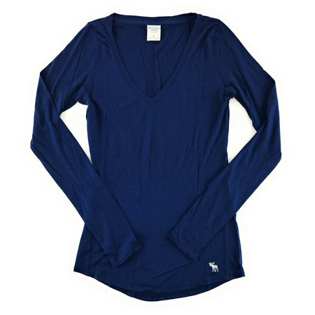 Abercrombie And Fitch Womens Long Sleeve Classic V Neck T Shirt