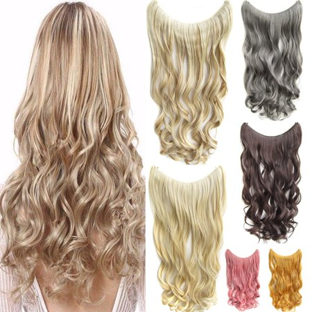 Hidden Halo Invisible Wire Piece Secret Miracle Wavy Curly Hair Piece - Hot Pink Hair Extensions