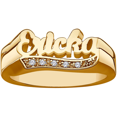 Personalized Women's Gold Over Sterling Silver Diamond Encrusted Tail Script Name Ring