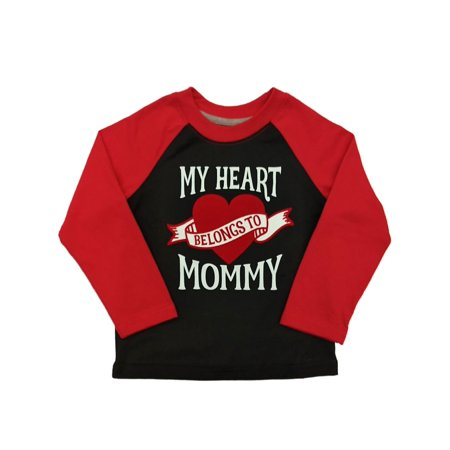 Toddler Boys My Heart Belongs To Mommy Long Sleeve Valentines Day T-Shirt](Mommys Boy)