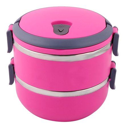 Home Kitchen Plastic Cylinder Shape Double Layers Food Fruit Container Lunch Box (Plastic Cylinder Containers)