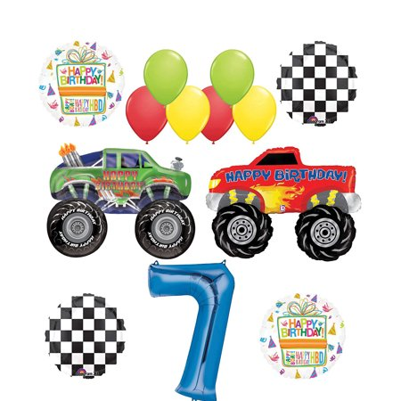 Monster Truck Party Supplies 7th Birthday Balloon Bouquet Decorations (Monster Truck Birthday Party Supplies)