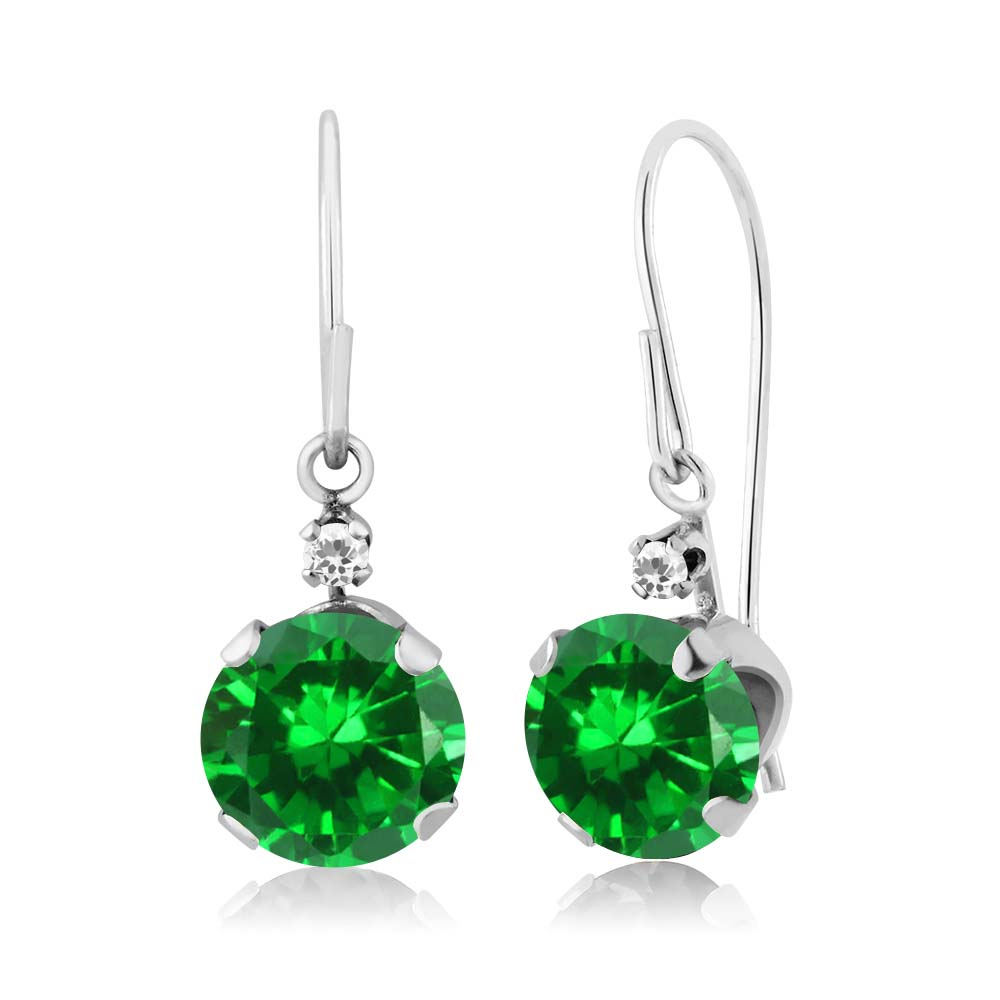 3.02 Ct Round Green Simulated Emerald White Sapphire 14K White Gold Earrings