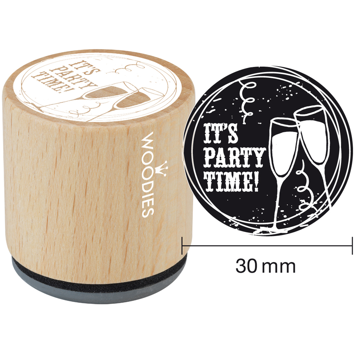 "Woodies Mounted Rubber Stamp 1.35""-It's Party Time"
