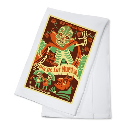 Old Town San Diego   Dia De Los Muertos  Day Of The Dead     Lucha Libre Del Fuego   Lantern Press Artwork  100  Cotton Kitchen Towel