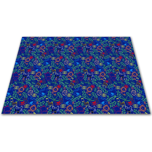 Kid Carpet Animal Doodles Blue Area Rug