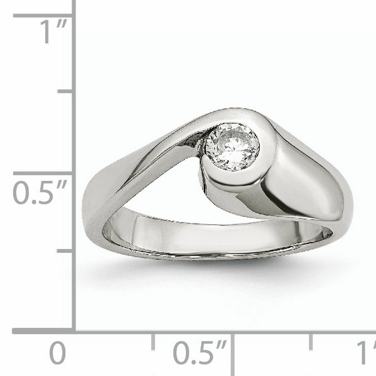 Stainless Steel Cubic Zirconia Cz Band Ring Size 7.00 Fashion Jewelry Gifts For Women For Her - image 5 of 7