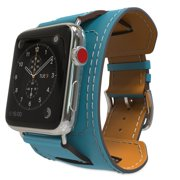 S-Tech Cuff Band Replacement Strap for Apple Watch 38 mm 40mm 42mm 44mm Series 1 2 3 4 Genuine Leather Smart Watch Band Cuff (Sky Blue, 42/44mm)