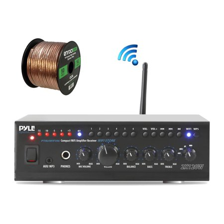 Pyle PTAUWIFI46 WiFi Bluetooth Stereo Amplifier 240-Watt Home Theatre Receiver,  Enrock Audio Spool of 50 Foot 16-Gauge Speaker (Best Home Theatre Receiver Under $500)
