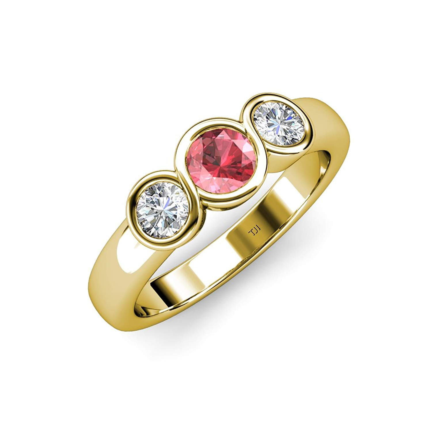 Pink Tourmaline and Diamond (SI2-I1, G-H) Infinity Three Stone Ring 1.07 ct tw in 14K Yellow Gold.size 5.0 by TriJewels
