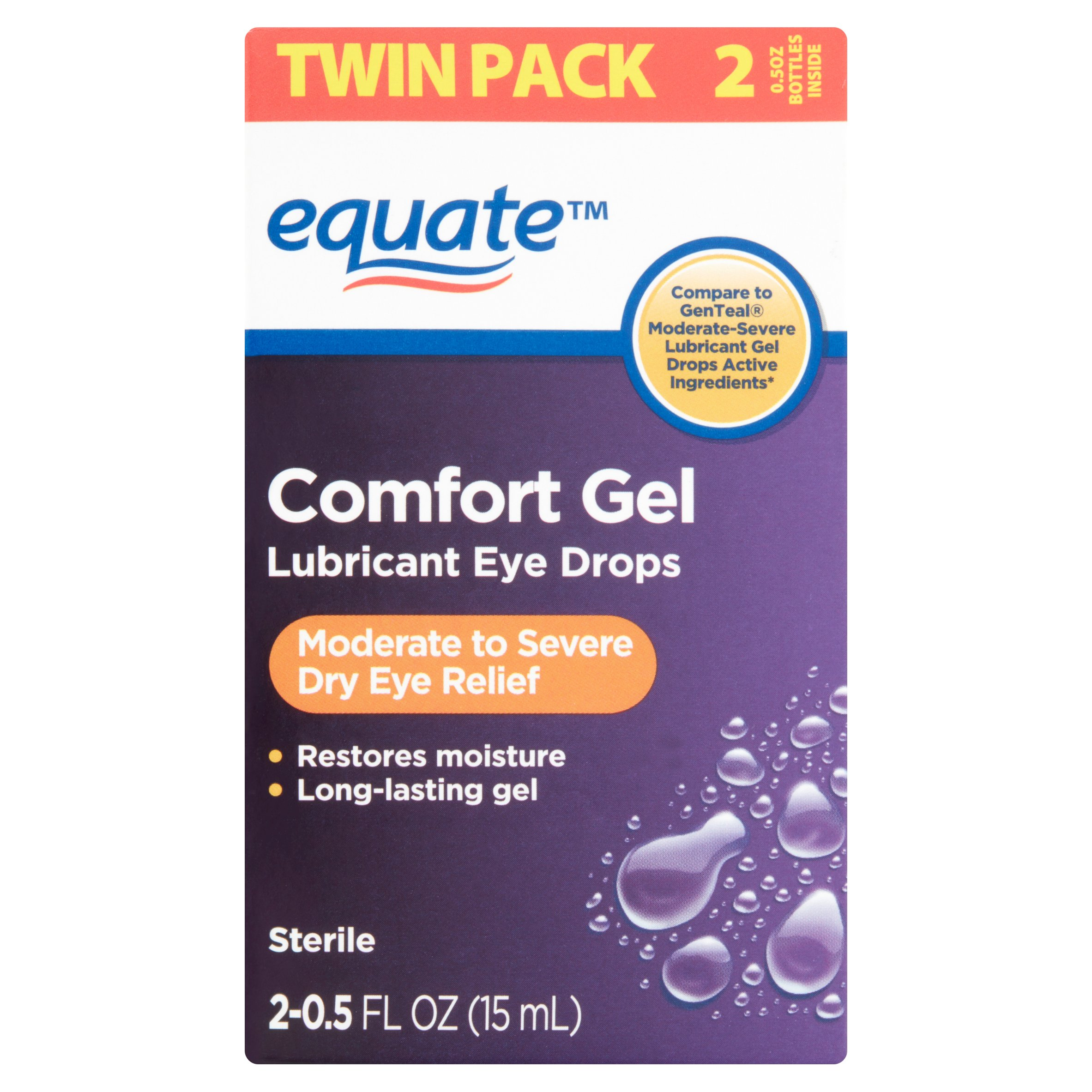 Equate Comfort Gel Lubricant Eye Drops, 0.5 Oz, 2 Pk