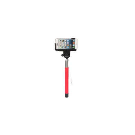 Wired Selfie Stick with Shutter Button - Red