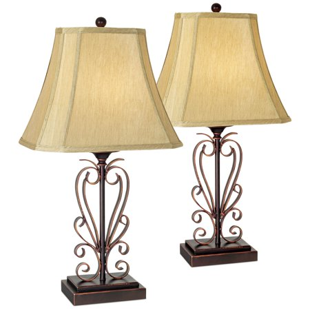 Franklin Iron Works Traditional Table Lamps Set of 2 Iron Bronze Scroll Faux Silk Rectangle Shade for Living Room Family Bedroom