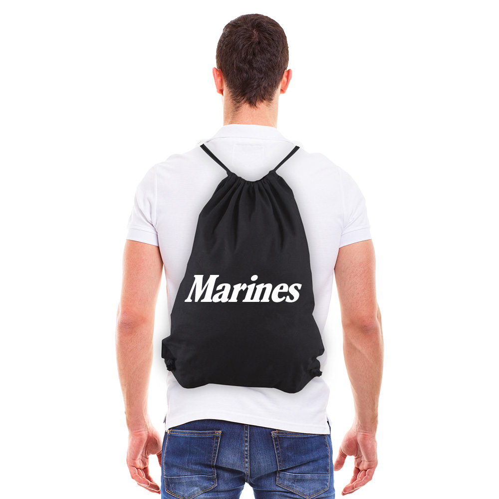 Marine Corps Text Eco-Friendly Reusable Cotton Draw String Bag Black & White