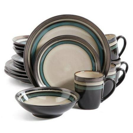 Gibson Elite Lewisville Teal Stoneware 16-piece Dinnerware Set - Teal Dinnerware