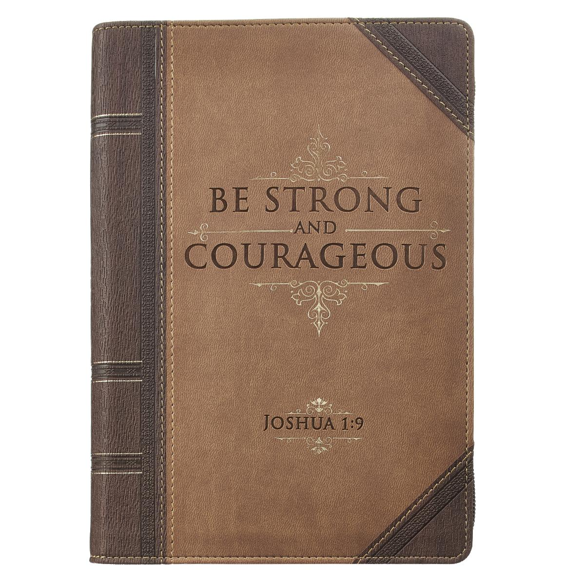 Journal Lux-Leather with Zipper Be Strong Joshua 1:9 (Hardcover)