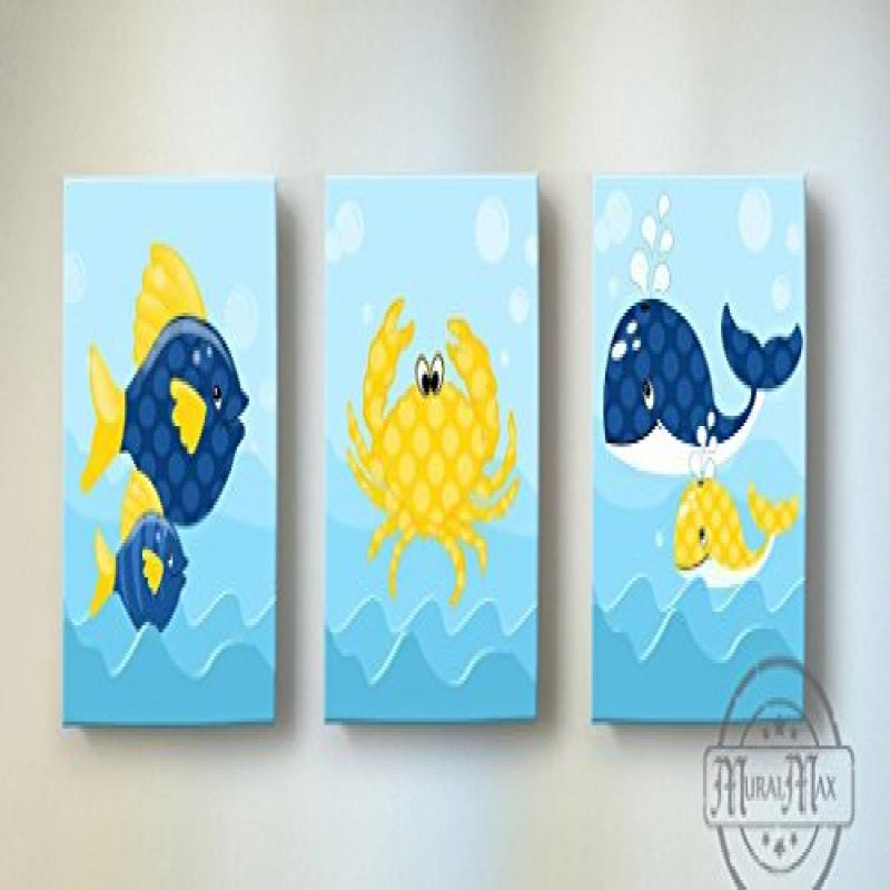 MuralMax Whimsical Fish Whales & Crabs Theme Canvas Nursery Decor Set of 3 Size 10 x 12 by MuralMax