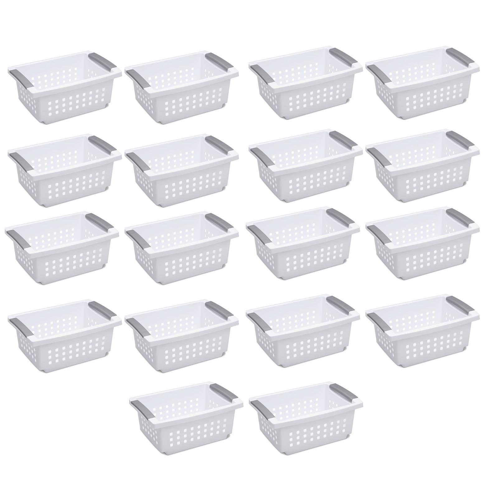 Sterilite Medium Sized White Stackable Storage and Organization Basket, 18 Pack