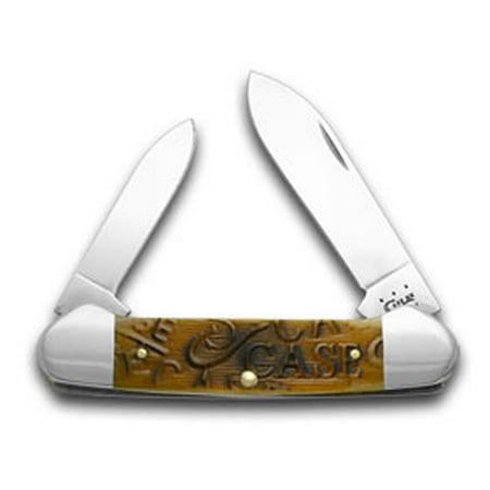 CASE XX Embellished Sawcut Antique Bone Canoe Pocket Knife Knives