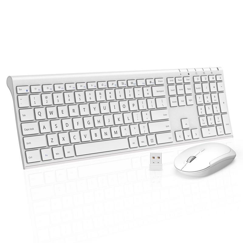 Wireless Keyboard Mouse Ultra Slim Full Size Rechargeable Wireless Keyboard and Mouse Combo for Windows, Laptop, Notebook, PC, Desktop, Computer (White)