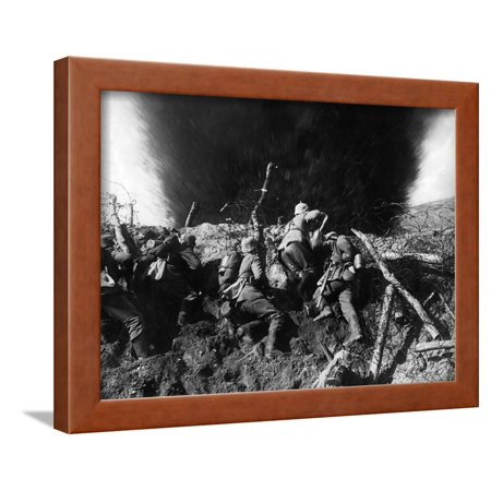 Wwi Trench (German Infantrymen in a Trench on the Western Front During Wwi, France, 1914-16 Framed Print Wall Art )