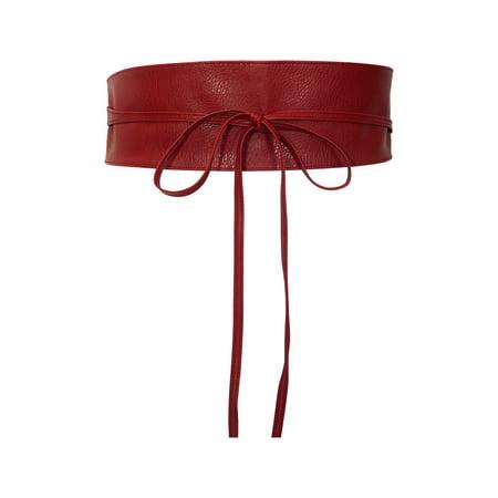 eVogues Plus size Faux Leather Obi Waistband Sash Belt Red](Sash Belt)