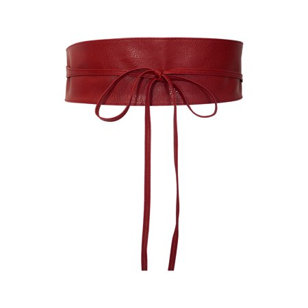 eVogues Plus size Faux Leather Obi Waistband Sash Belt Red (Wide Red Belt Plus Size)