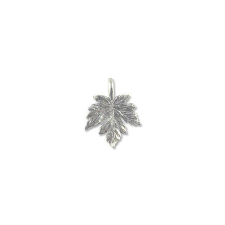 Charm for Jewelry Making - Leaf 15x12mm Pewter Antique Silver Plated (Silver Plated Lead)