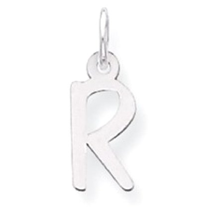 Icecarats 925 Sterling Silver Small Slanted Block Initial Monogram Name Letter R Pendant Charm Necklace   Fine Jewelry Gift Valentine Day Set For Women Heart