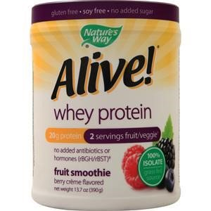 Nature's Way Alive! Whey Protein 100% Isolate Grass Fed Fruit Smoothie, Berry Cr?me, 0.85