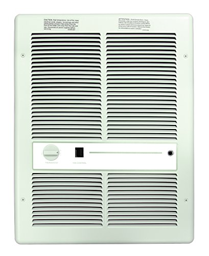 1500//1124 Watts 240//208 Volts White Double Pole Built-in Thermostat All Metal Construction TPI HF4315T2RPW Low Profile Fan Forced Wall Heater