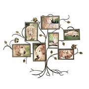 Adeco 7-Opening Decorative Bronze Iron Tree Wall Hanging Collage Photo Frame 5 by 7 inch