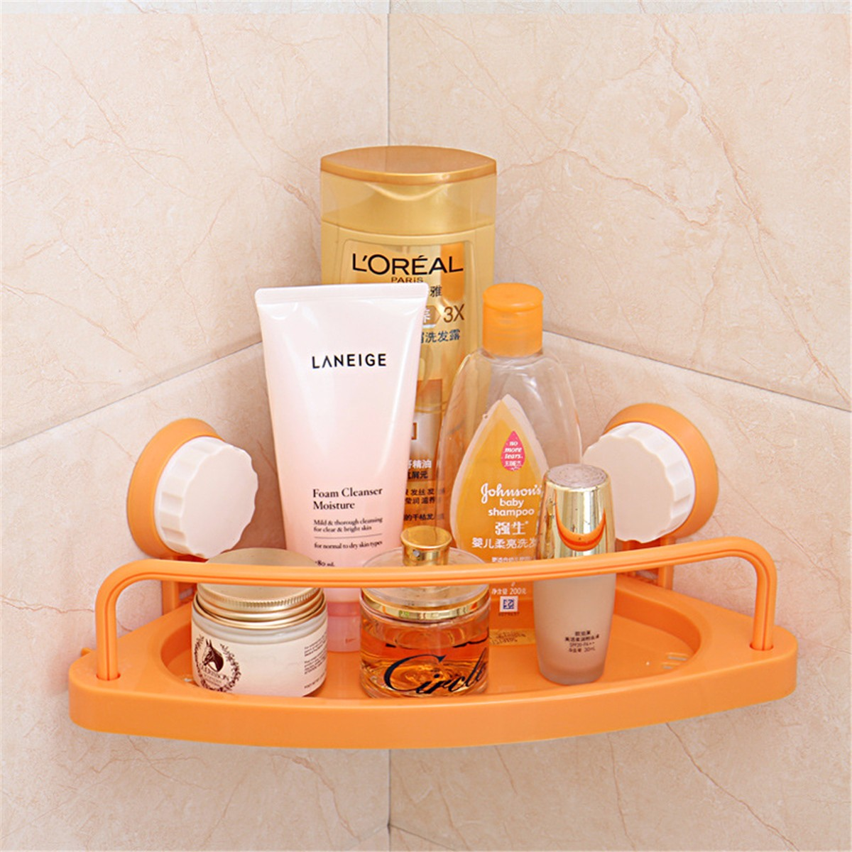 Bath Corner Suction Shelf Shower Caddy Display Stand