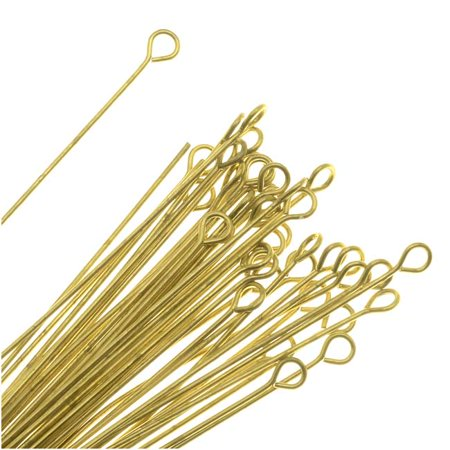 Open Eye Pins, 2 Inches Long and 22 Gauge Thick, 50 Pieces, Solid Brass ()