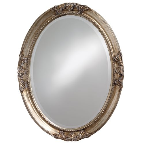 ALLAN ANDREWS Lisette Silver Wood Oval Mirror by Howard Elliott