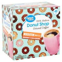Great Value Donut Shop 100% Arabica Medium Ground Coffee, 0.38 oz, 48 count