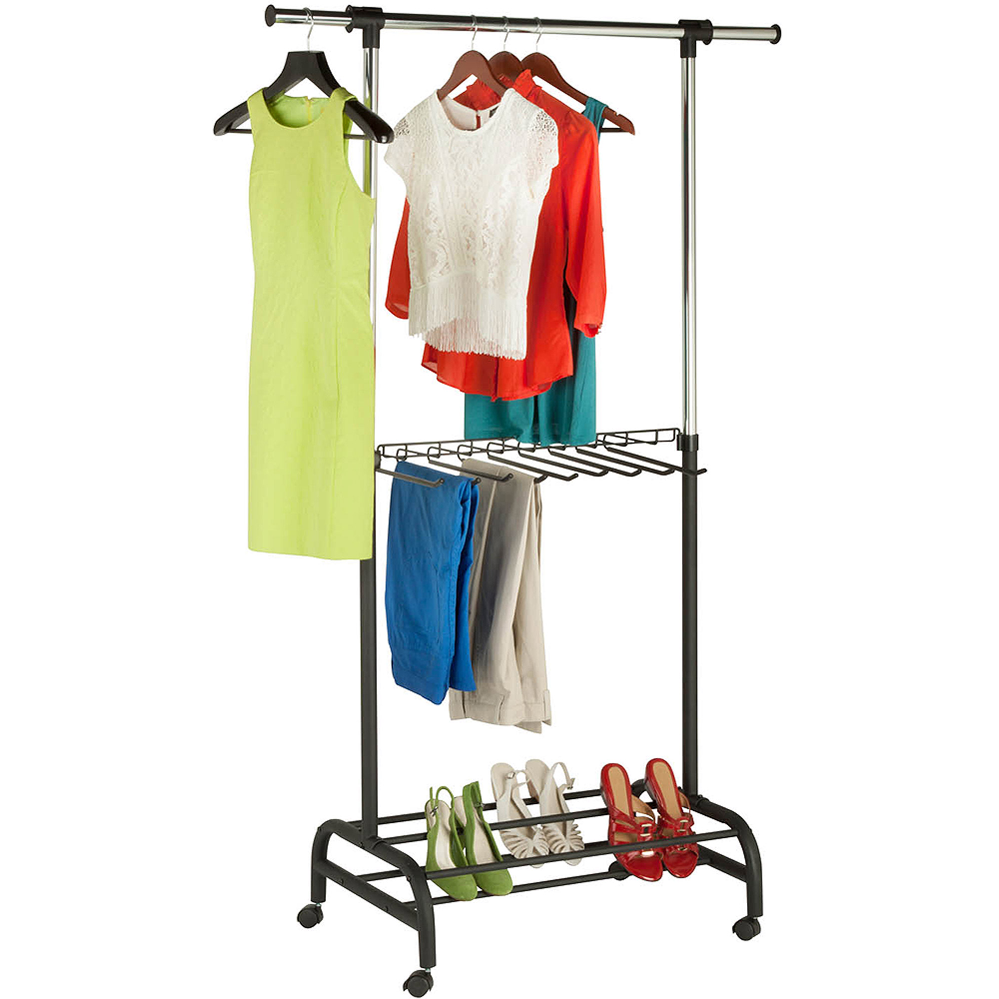 Honey Can Do Adjustable Rolling Garment Rack with Pant Rack, Chrome/Black