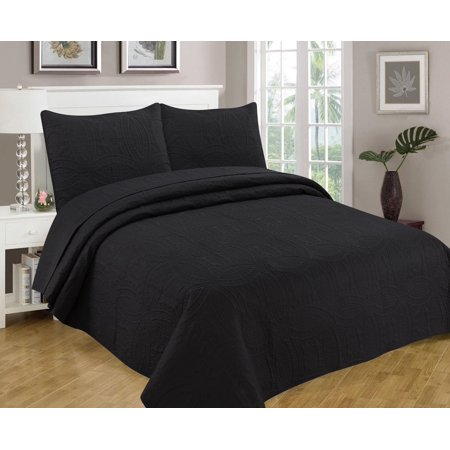 Bedspread Coverlet 3 Pcs Set Oversized 118 X 106 King Size Black