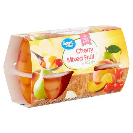 Great Value Cherry Mixed Fruit, 4 oz, 4 count
