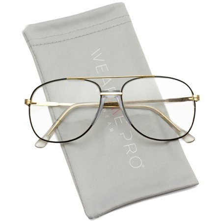 WearMe Pro - Gold Metal Aviator Nerd Glasses Retro Hipster Vintage Style Clear (Huge Hipster Glasses)