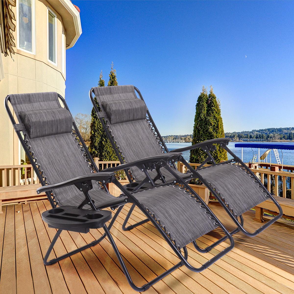 2PC Folding Zero Gravity Reclining Lounge Chairs Beach Patio W/ Utility Tray - image 2 of 8