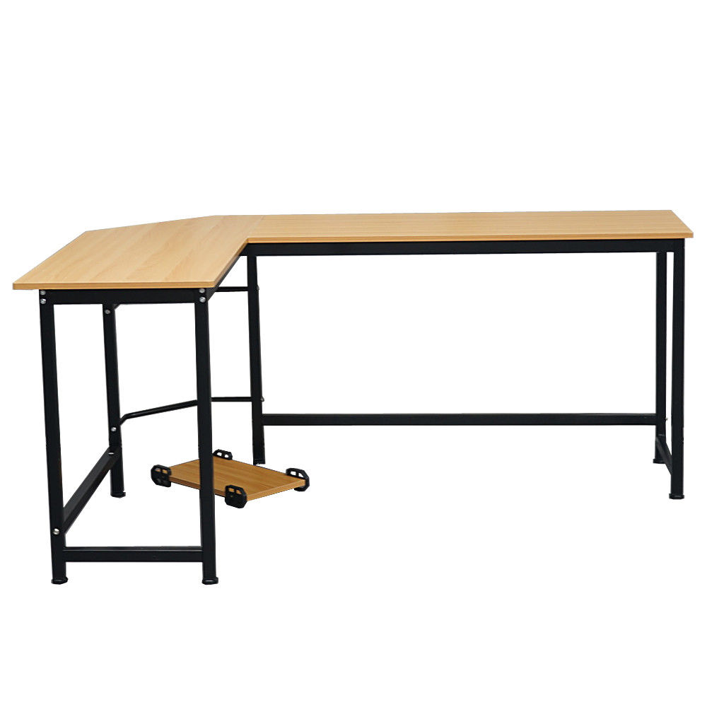 "GHP 66""x47""x28"" Office L-Shaped MDF Iron Corner Computer Gaming Desk with CPU Stand"