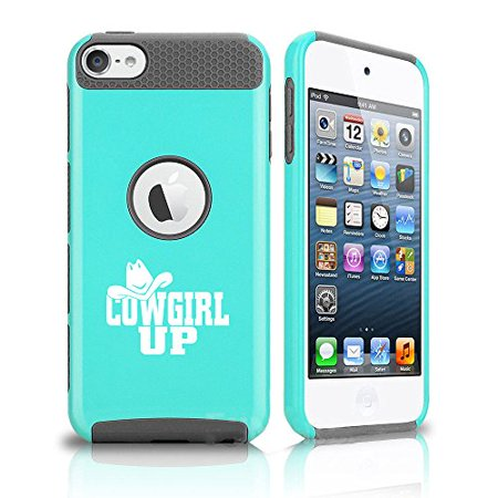 For Apple iPod Touch 5th / 6th Shockproof Impact Hard Soft Case Cover Cowgirl Up with Hat (Teal-Grey) - Cowgirl With Hat