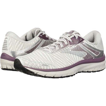 Brooks Women's Adrenaline GTS 18, White/Purple/Grey, 5.5 B(M) US
