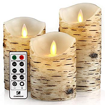"""Flickering Candles Candles Birch Set of 4 5/"""" 6/"""" Birch Bark Battery Candles Real"""