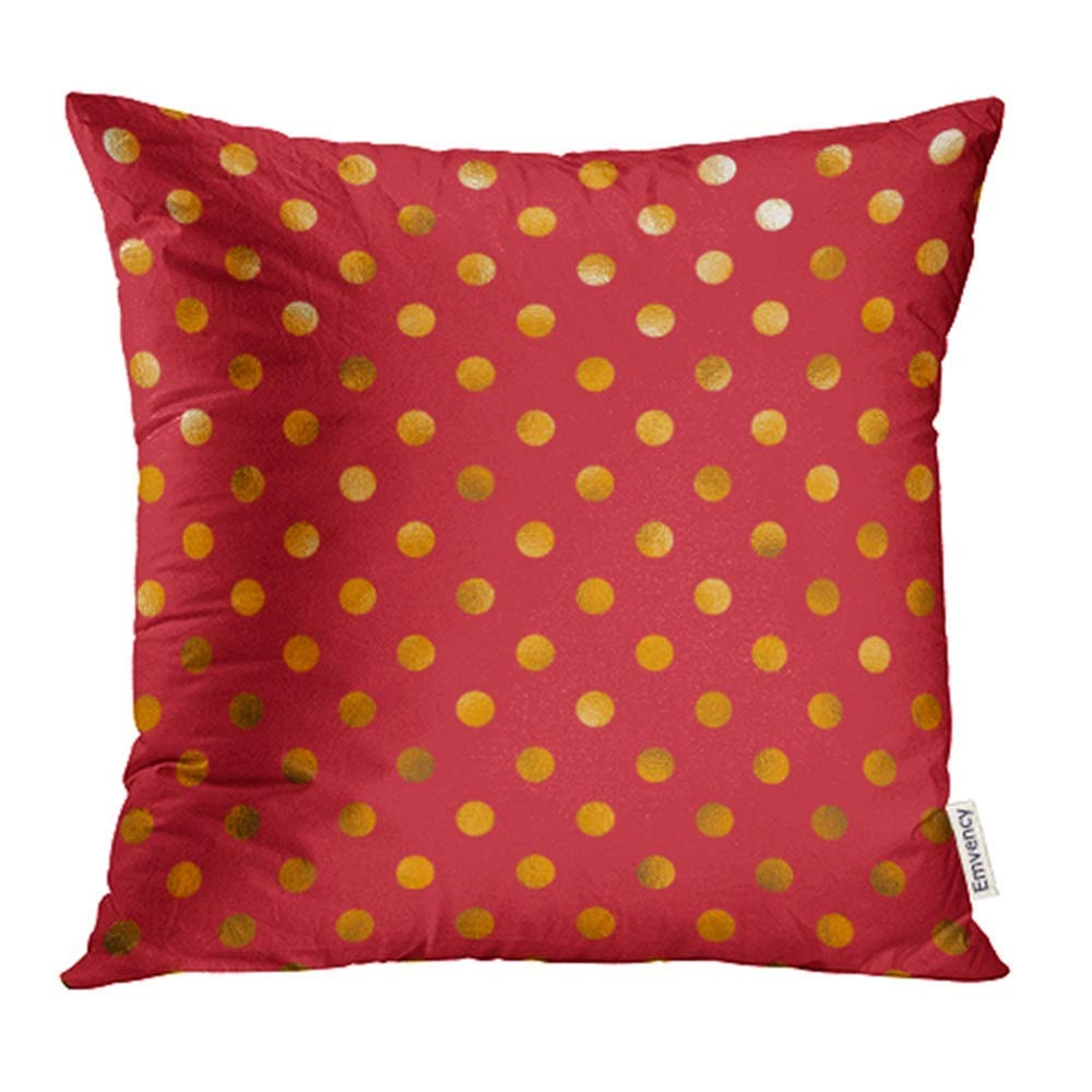 USART Circle Red Orange Yellow Polka Dot Pattern Swiss Color Digital Gold Pillowcase Cushion Cover 16x16 inch