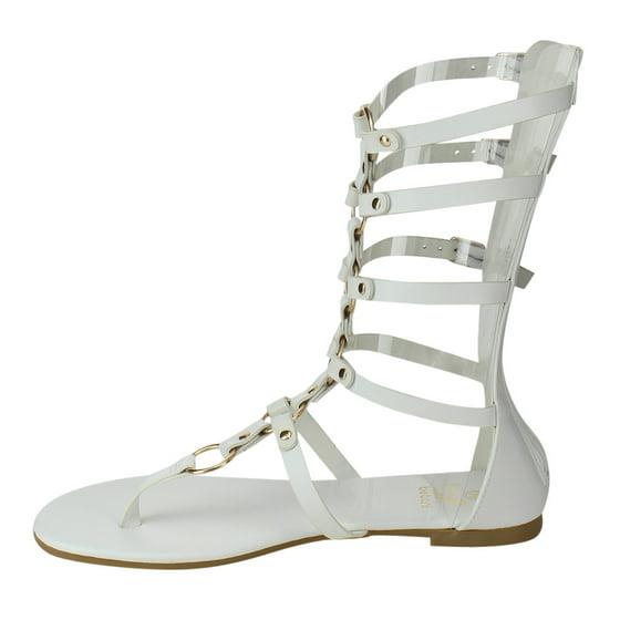 05f0bc527e7e41 Betani FA54 Women s Strappy Cutout Buckles Back Zip Gladiator Flat Sandal -  Walmart.com