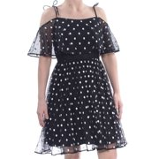 ADRIANNA PAPELL Womens Black Sheer Ruffled Polka Dot Spaghetti Strap Off Shoulder Knee Length Fit + Flare Party Dress  Size: 8