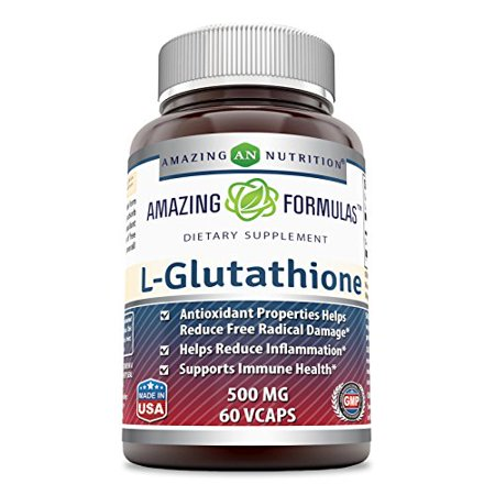 Amazing Formulas L-Glutathione 500mg 60 Vcaps - Antioxidant Properties Helps Reduce Free Radical Damage - Helps Reduce Inflammation - Supports Immune (Immune Support Formula Echinacea)