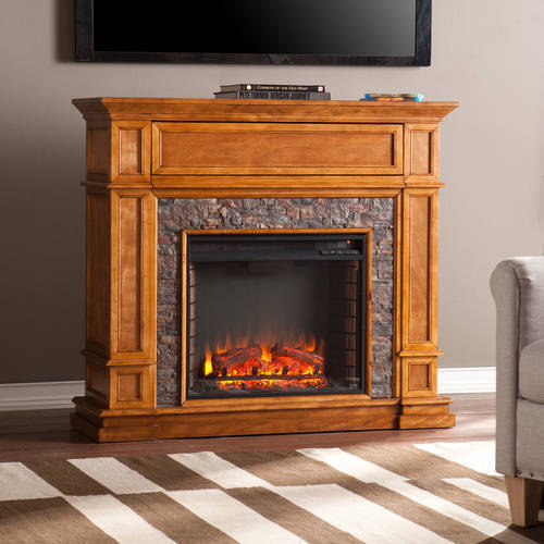Southern Enterprises Jackson Media Electric Fireplace Console with Faux Stone, for TV;